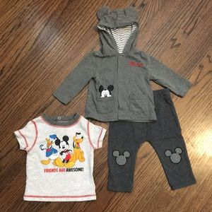 Disney Mickey Mouse shirt, pants, & jacket outfit